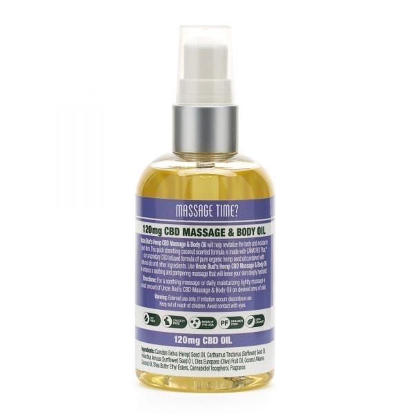 Uncle Bud's Hemp CBD Massage & Body Oil Back