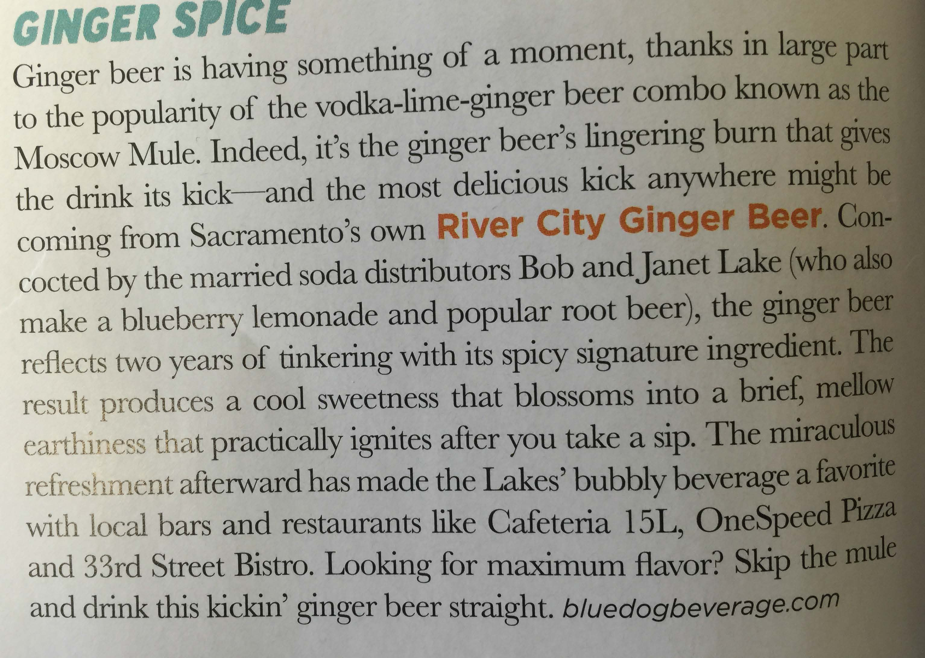 River City Ginger Beer in Sac Town Magazine